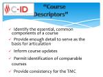 course descriptors