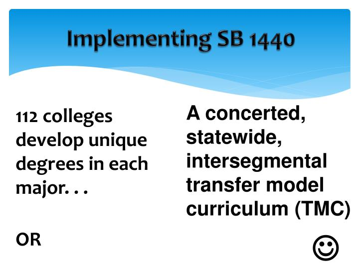 Implementing SB 1440