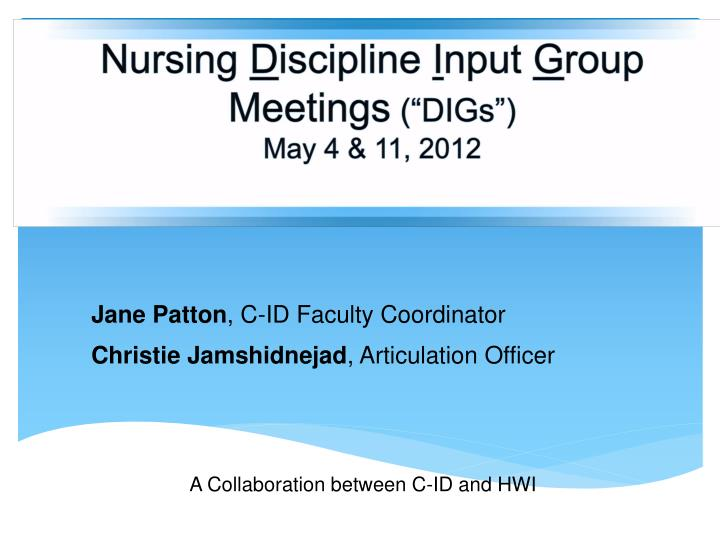 nursing d iscipline i nput g roup meetings digs may 4 11 2012