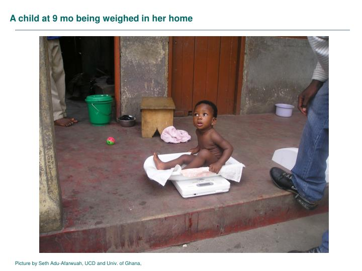 A child at 9 mo being weighed in her home