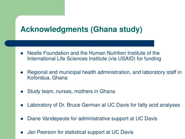 Acknowledgments (Ghana study)