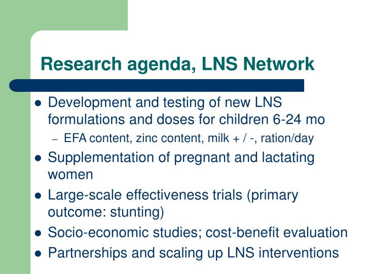 Research agenda, LNS Network