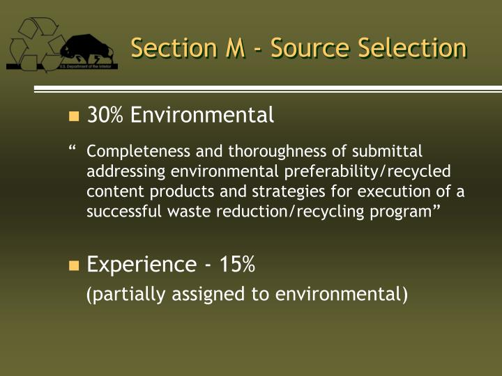 Section M - Source Selection