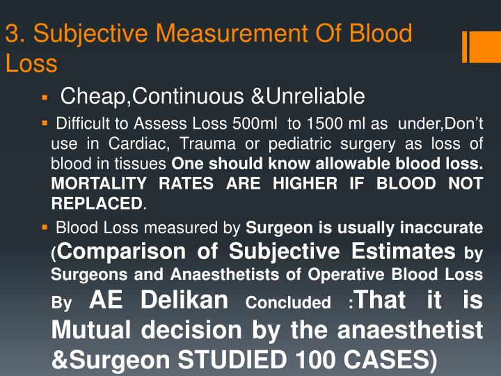 3. Subjective Measurement Of Blood Loss