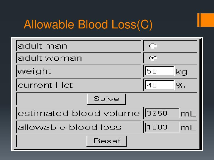 Allowable Blood Loss(C)