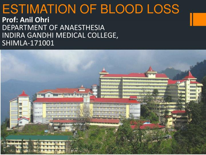 Estimation of blood loss