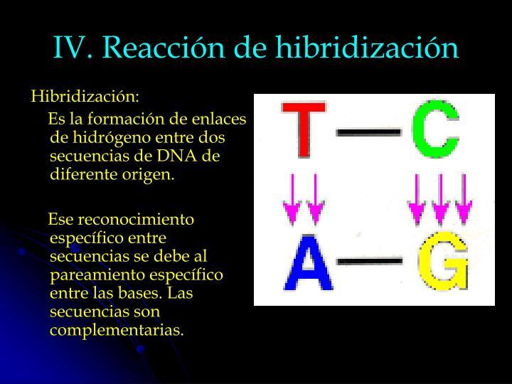 IV. Reacción de hibridización