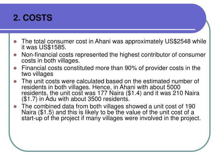 2. COSTS
