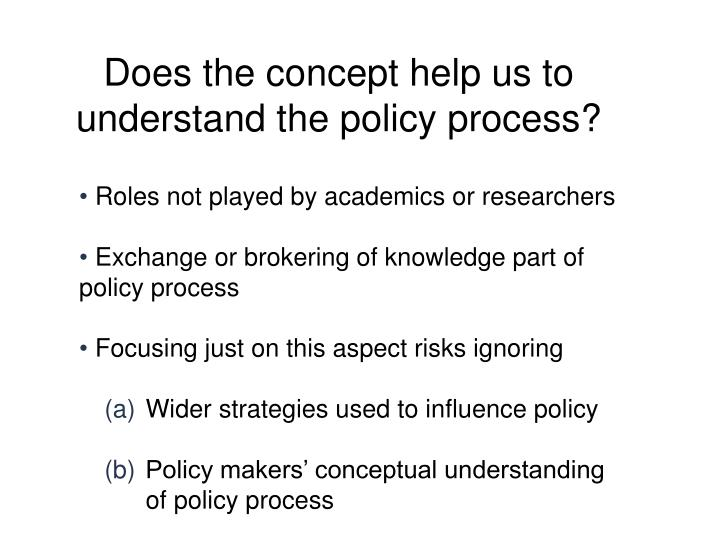 Does the concept help us to understand the policy process?