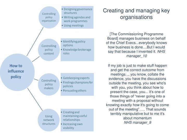 Creating and managing key organisations