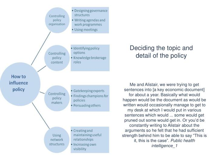 Deciding the topic and detail of the policy