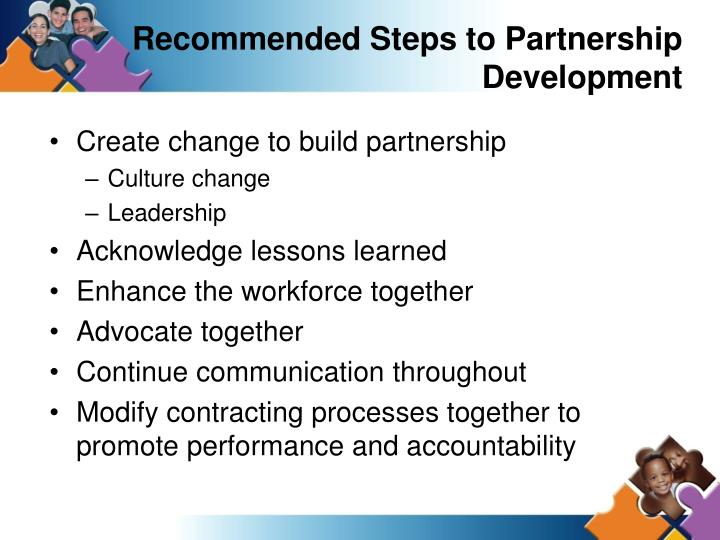 Recommended Steps to Partnership Development