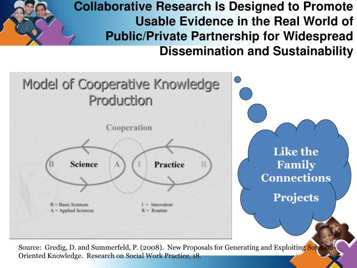 Collaborative Research Is Designed to Promote Usable Evidence in the Real World of Public/Private Partnership for Widespread Dissemination and Sustainability