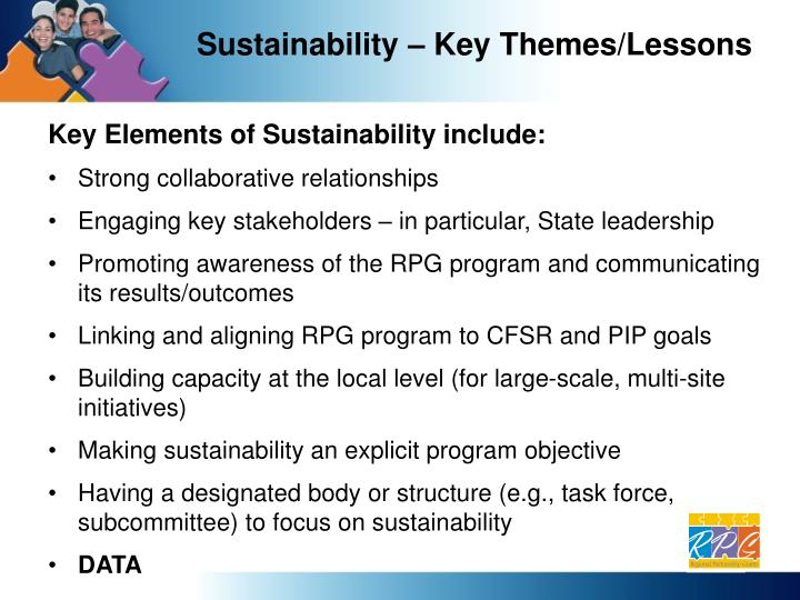Sustainability – Key Themes/Lessons