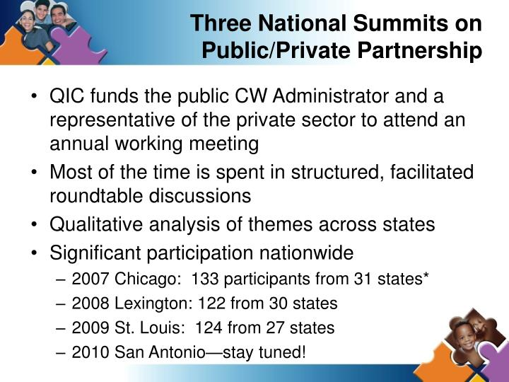Three National Summits on Public/Private Partnership