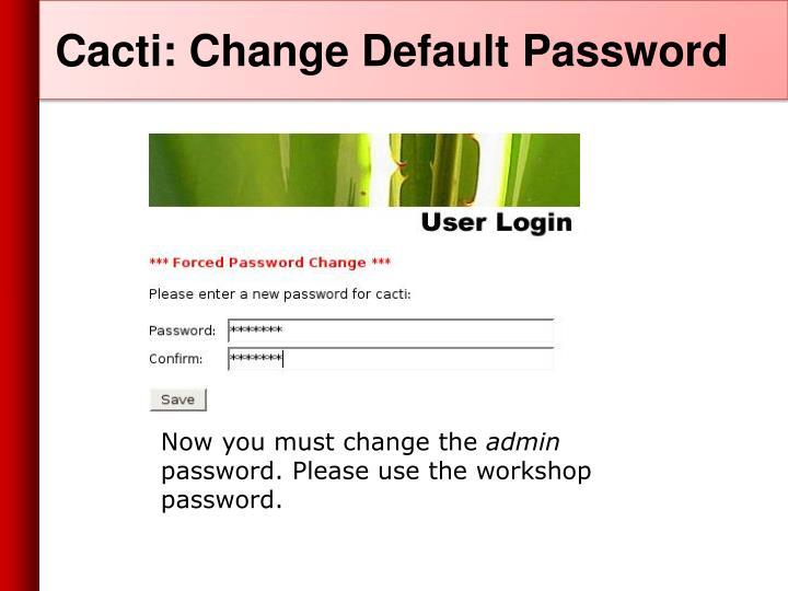 Cacti: Change Default Password