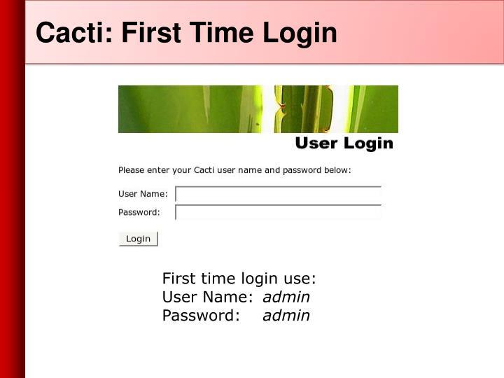 Cacti: First Time Login
