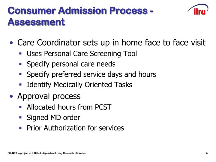 Consumer Admission Process - Assessment