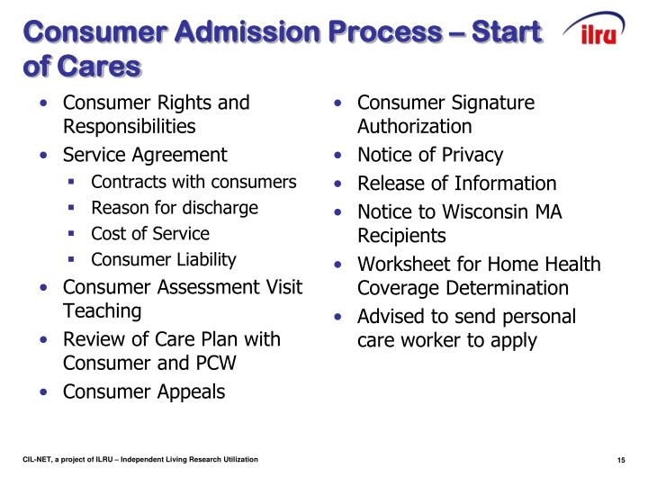 Consumer Admission Process – Start of Cares