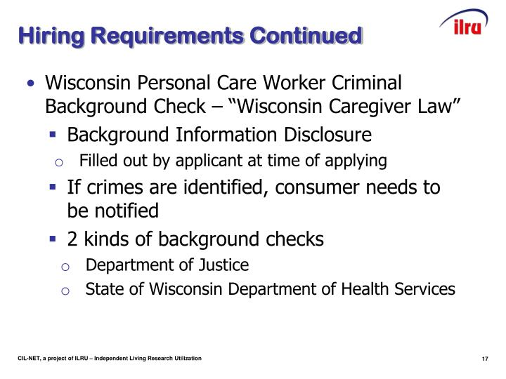 Hiring Requirements Continued