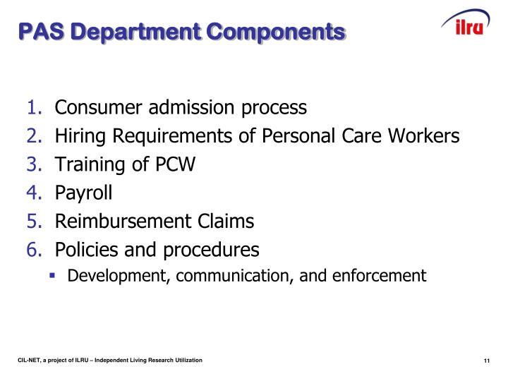 PAS Department Components