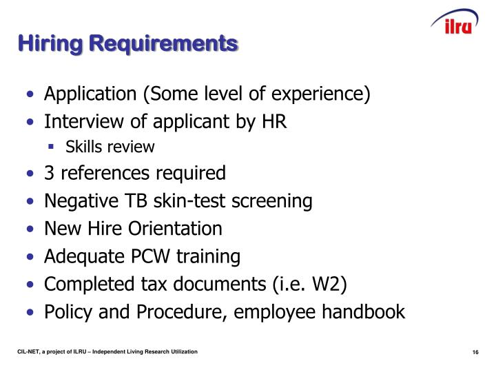 Hiring Requirements