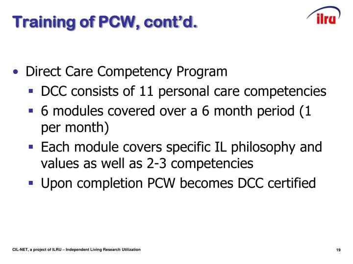 Training of PCW, cont'd.