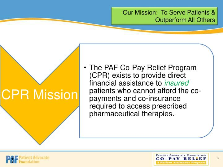 Our Mission:  To Serve Patients & Outperform All Others