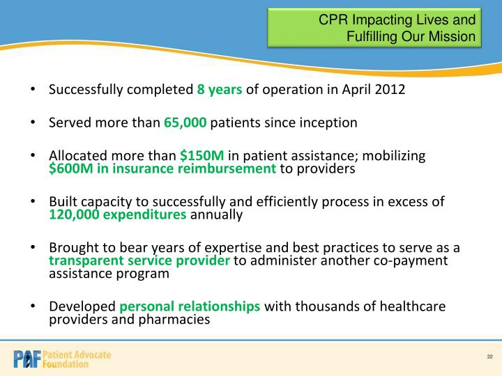 CPR Impacting Lives and Fulfilling Our Mission