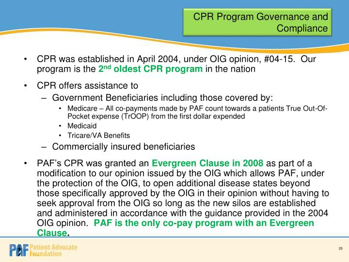 CPR Program Governance and Compliance