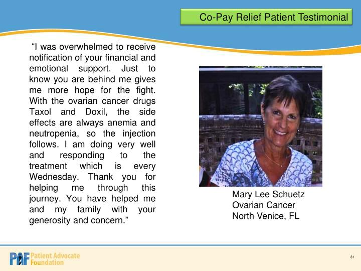 Co-Pay Relief Patient Testimonial