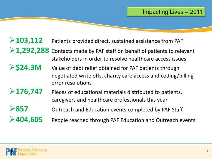 Impacting Lives – 2011
