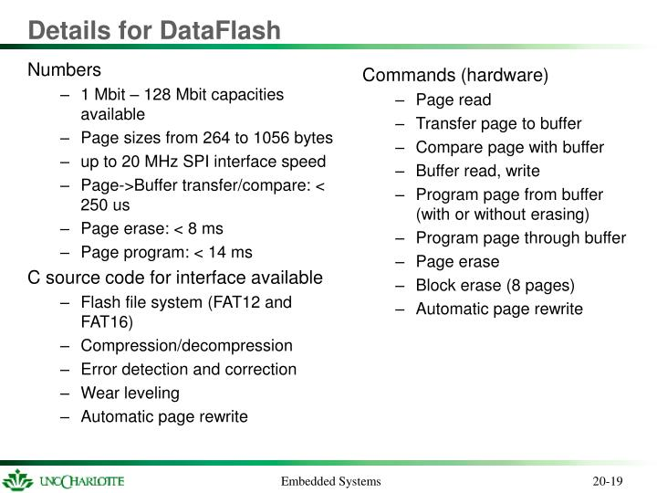 Details for DataFlash