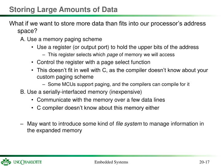 Storing Large Amounts of Data