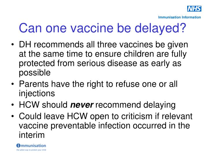 DH recommends all three vaccines be given at the same time to ensure children are fully protected from serious disease as early as possible