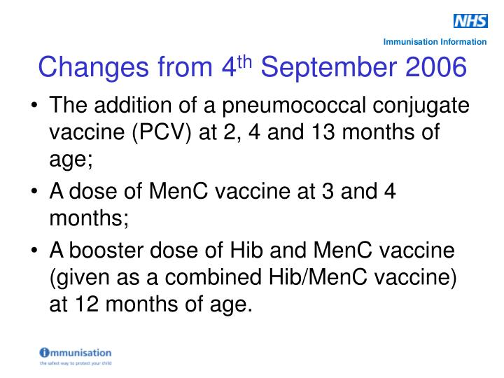 The addition of a pneumococcal conjugate vaccine (PCV) at 2, 4 and 13 months of age;