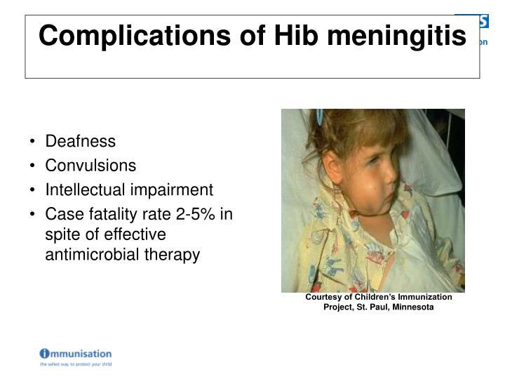 Complications of Hib meningitis