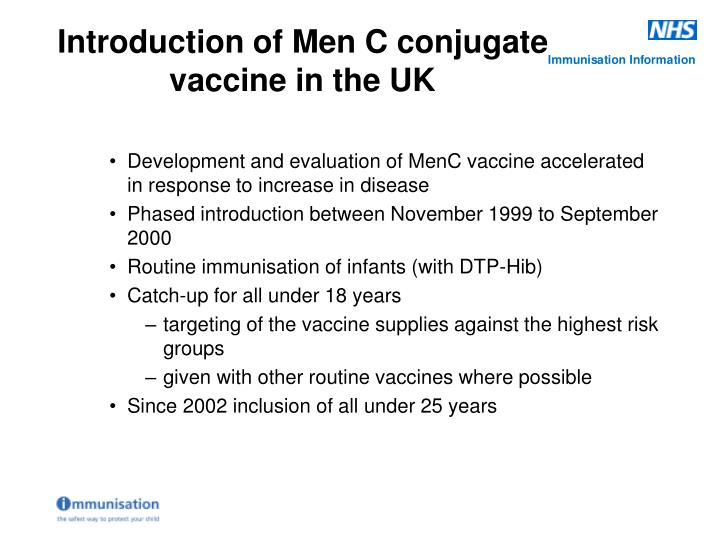 Development and evaluation of MenC vaccine accelerated in response to increase in disease