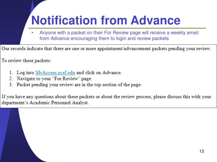 Notification from Advance