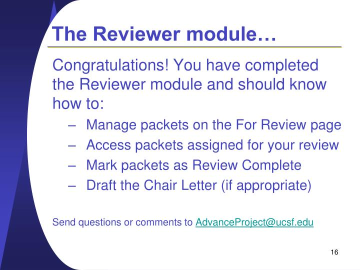 The Reviewer module…