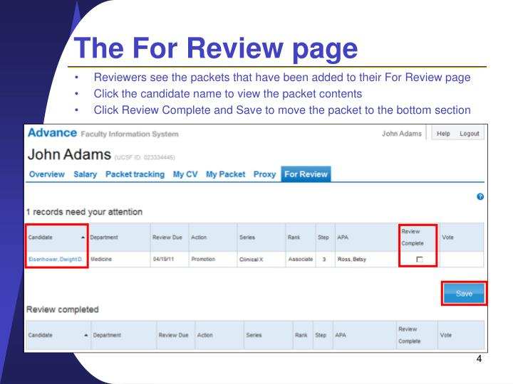 The For Review page
