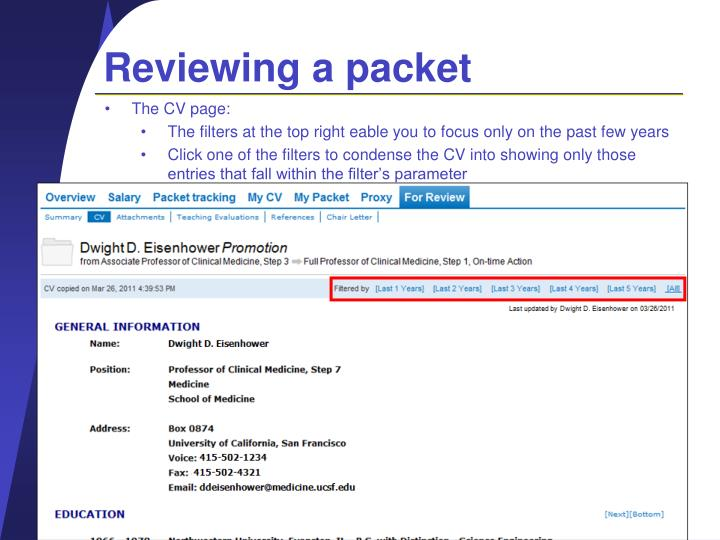 Reviewing a packet