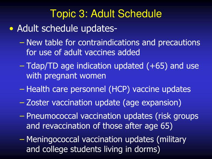 Topic 3: Adult Schedule