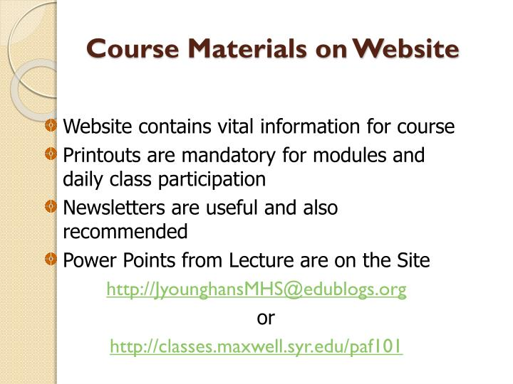 Course Materials on Website