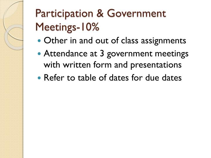 Participation & Government Meetings-10%