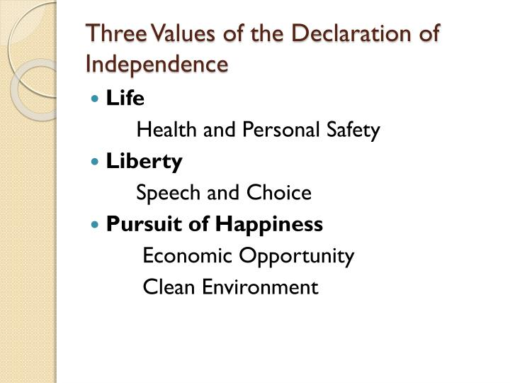 Three Values of the Declaration of Independence
