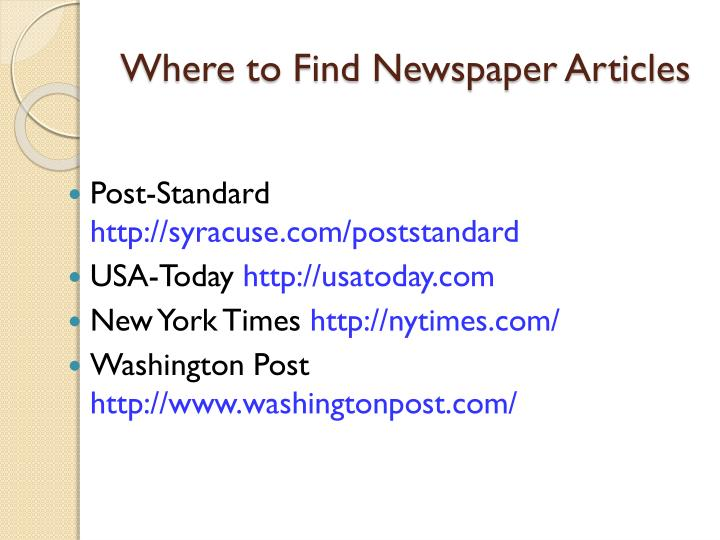 Where to Find Newspaper Articles