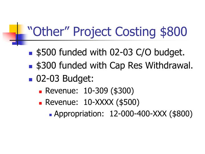 """Other"" Project Costing $800"