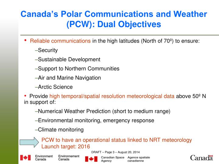 Canada's Polar Communications and Weather (PCW): Dual Objectives