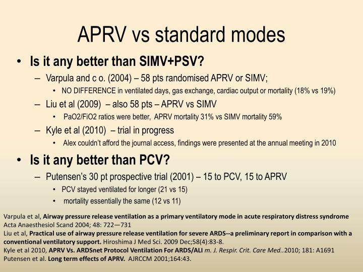 APRV vs standard modes